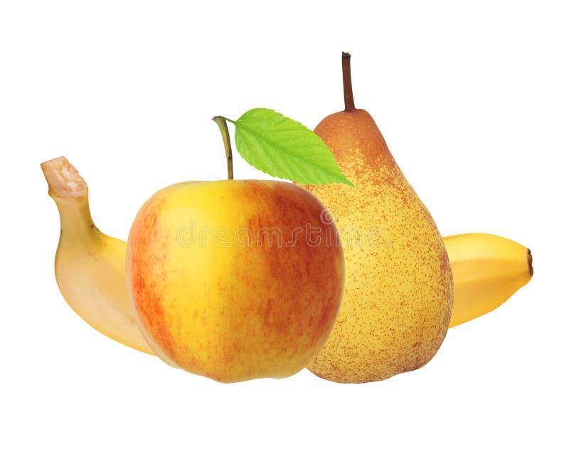 Красные и желтые яблоко, банан и груша изолированное на белизне стоковая фотография