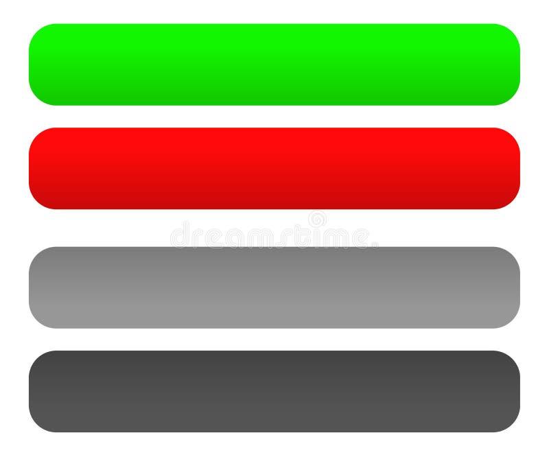 Красные и зеленые кнопка/знамя/бирка установили с неработающими версиями бесплатная иллюстрация