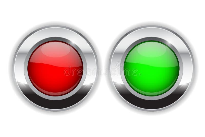 Красные и зеленые круглые кнопки Значки стекла 3d сияющие с широкой рамкой металла бесплатная иллюстрация