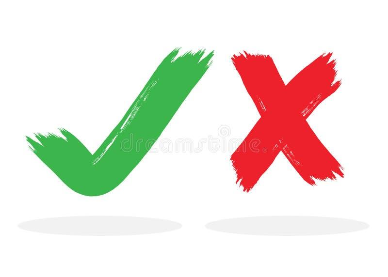 Красные и зеленые чернила почистили контрольную пометку щеткой и пересекли значки метки установленные на белую предпосылку бесплатная иллюстрация