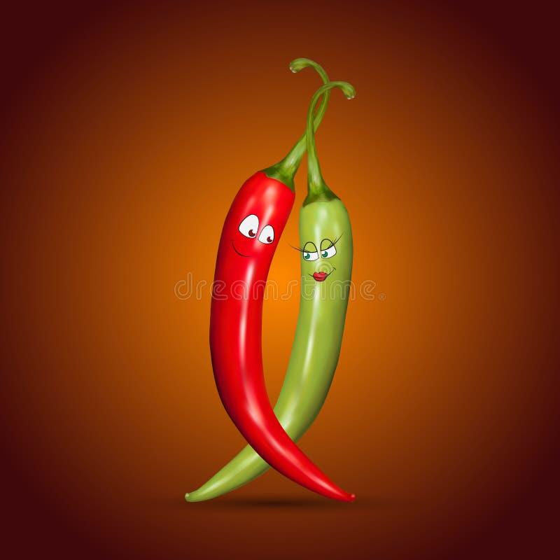 Красные и зеленые перцы чилей с улыбками бесплатная иллюстрация