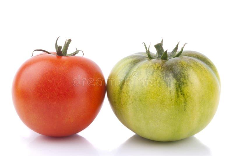 Красные и зеленые томаты стоковая фотография