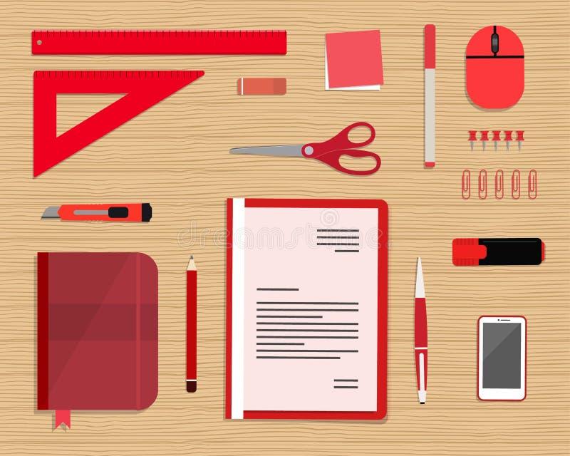 Красные канцелярские принадлежности на деревянной предпосылке Взгляд сверху стола иллюстрация вектора