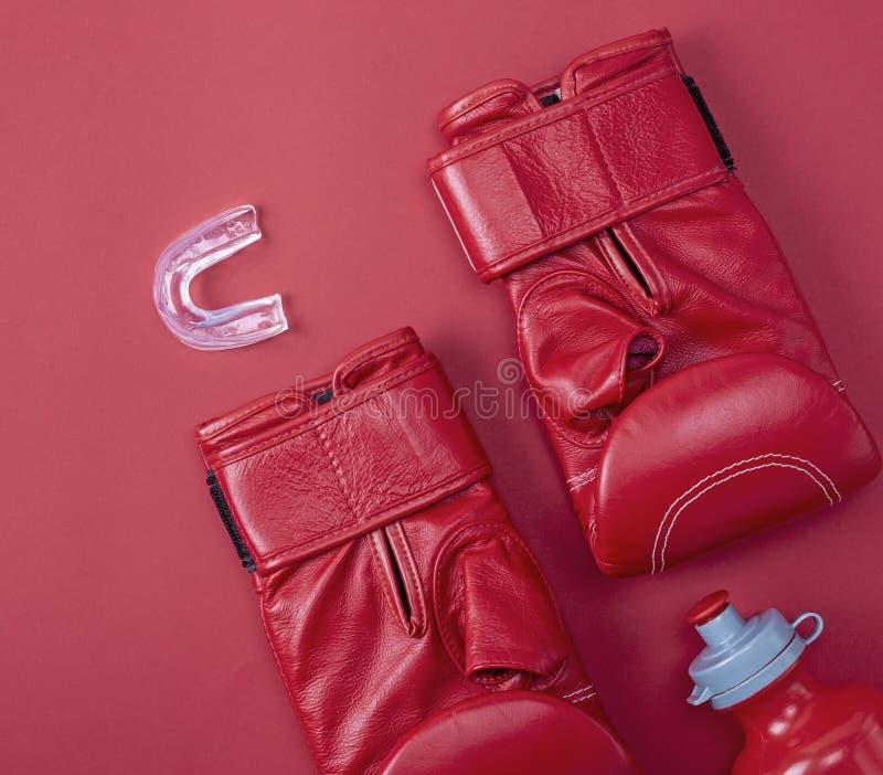 Красные кладя в коробку перчатки спорта стоковое изображение