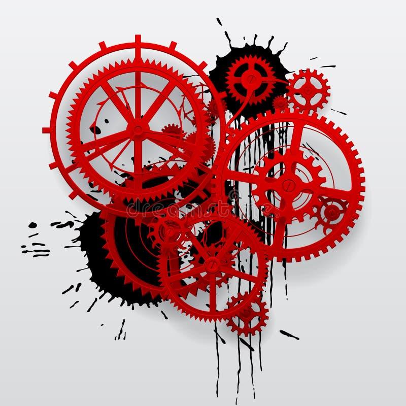Красные колеса шестерни clockwork с черными помарками иллюстрация штока