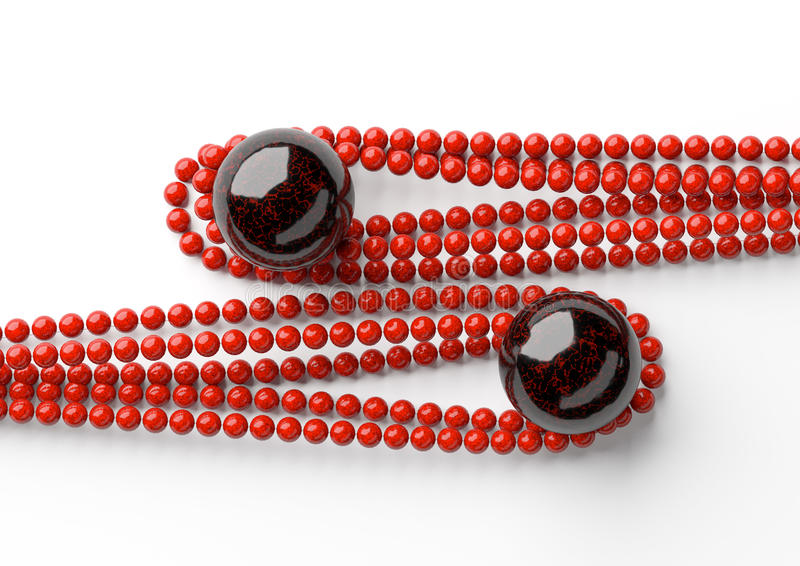 Красные красивые шарики с большим черным жемчугом на белой предпосылке стоковая фотография rf