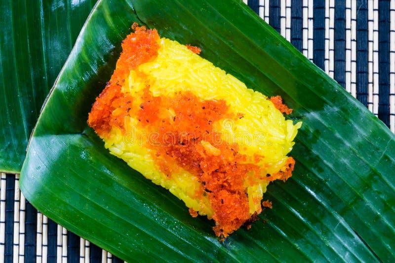 Красные креветка и кокос клока на желтом липком рисе Тайский стиль s стоковые изображения rf
