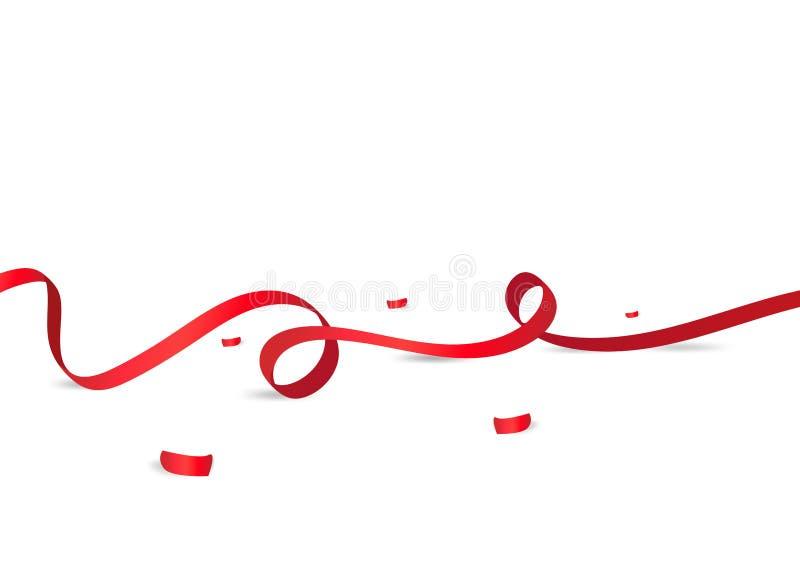 Красные ленты с бумагой confetti на поле, белой предпосылке, празднуют, партия, вознаграждения, продажи и вектор сюрприза продвиж иллюстрация вектора