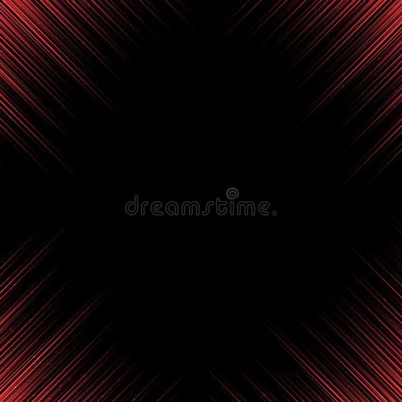 Красные линии абстрактной технологии загоняют вкосую движение в угол на черном bac иллюстрация вектора