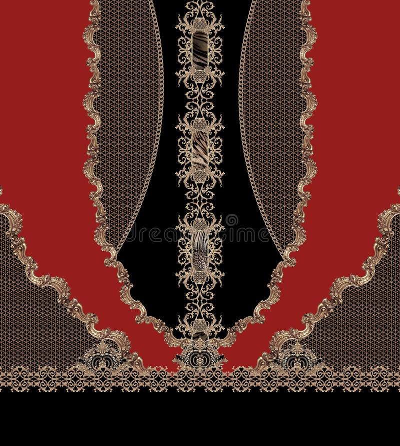 Красные линии геометрического дизайна фасонируют красивую текстуру ткани иллюстрации стиля стоковые фото