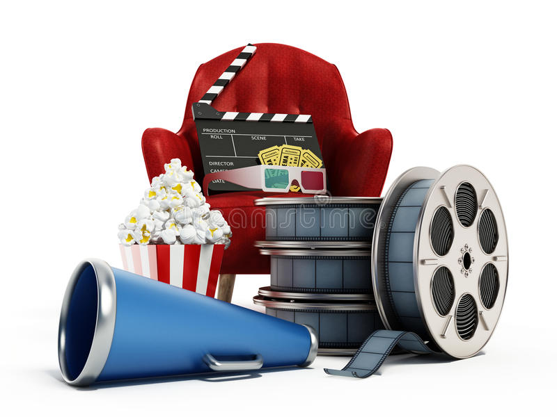 Красные место, мозоль шипучки, вьюрок фильма и шифер иллюстрация 3d бесплатная иллюстрация
