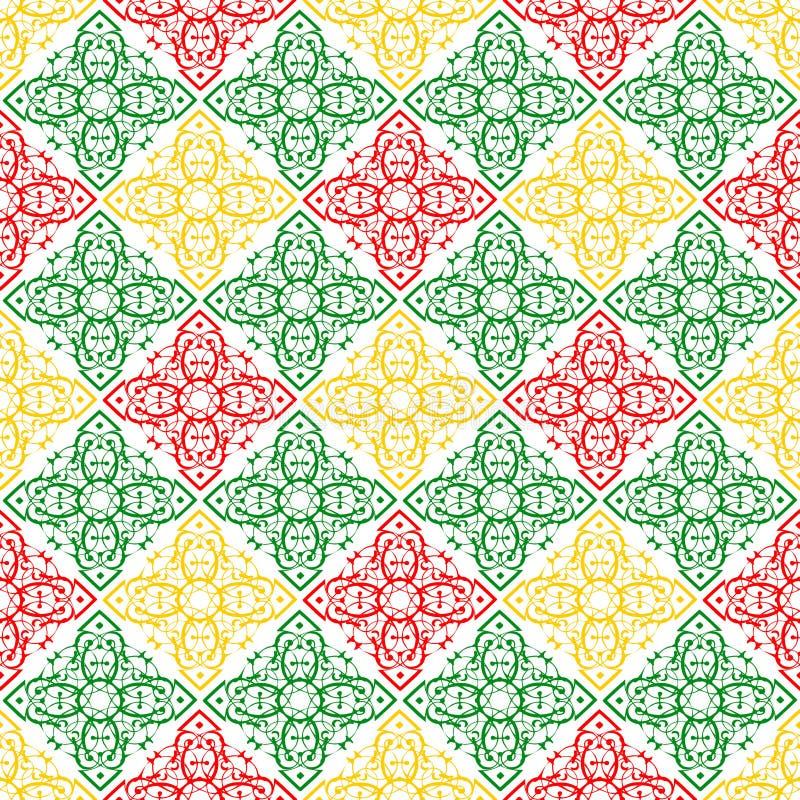 Красные обои текстуры картины зеленого и желтого флористического орнаментального восточного красивого королевского винтажного кон иллюстрация вектора