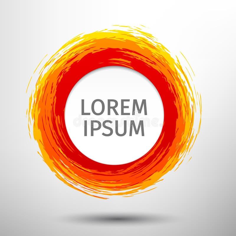 Красные оранжевые форма акварели/шаблон Grunge для текста/логотипа/дизайна/акварели вектора оранжевая форма круга иллюстрация вектора