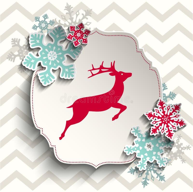 Красные олени с абстрактными снежинками на бежевом шевроне иллюстрация штока