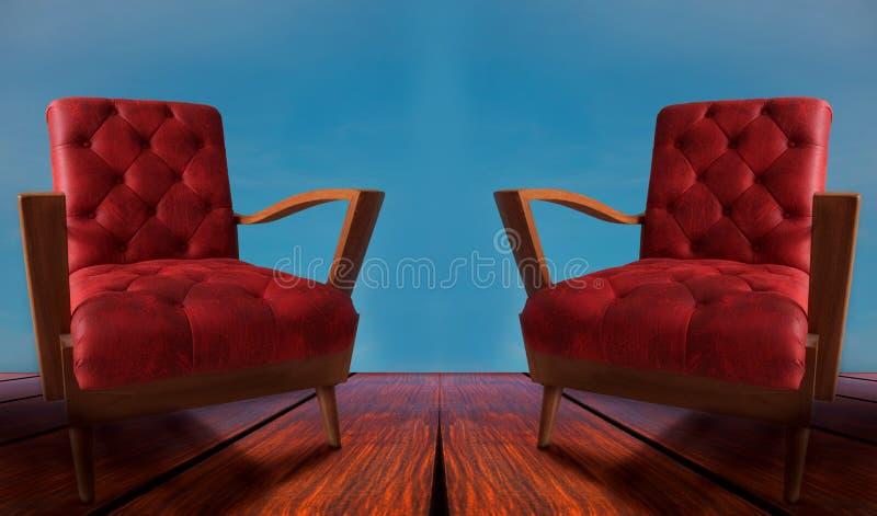 Красные пары подготовляют стулы на деревянной и голубой предпосылке стоковая фотография