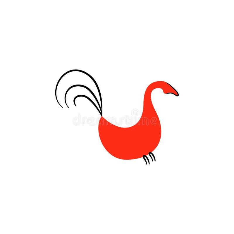 Красные птицы Национальные северные картины Фольклорные ремесленничества Очаровательные первоначально орнаменты простота Красная  иллюстрация штока