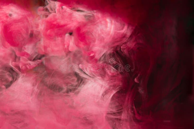 Красные розовые чернила в воде Освещение солнечности Динамическое движение PA стоковое фото