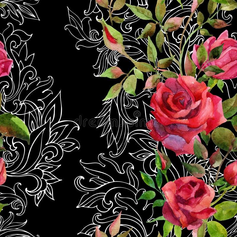 Красные розы на барочном орнаменте картина безшовная иллюстрация штока