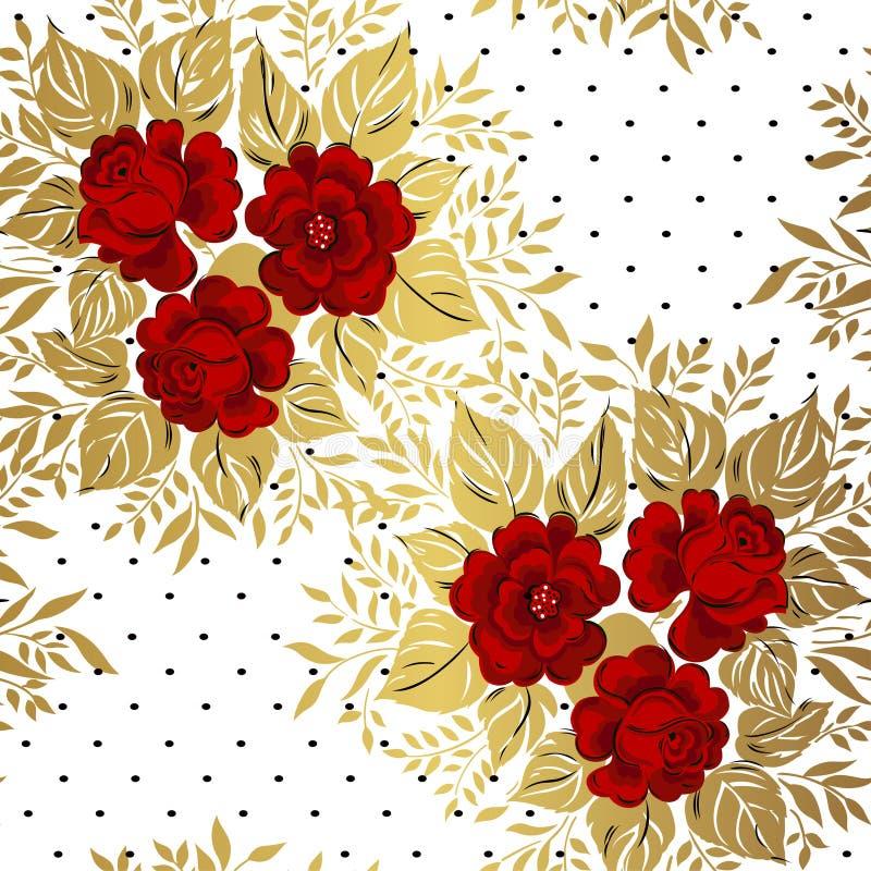 Красные розы на предпосылке золота желтый цвет картины сердца цветков падения бабочки флористический иллюстрация вектора