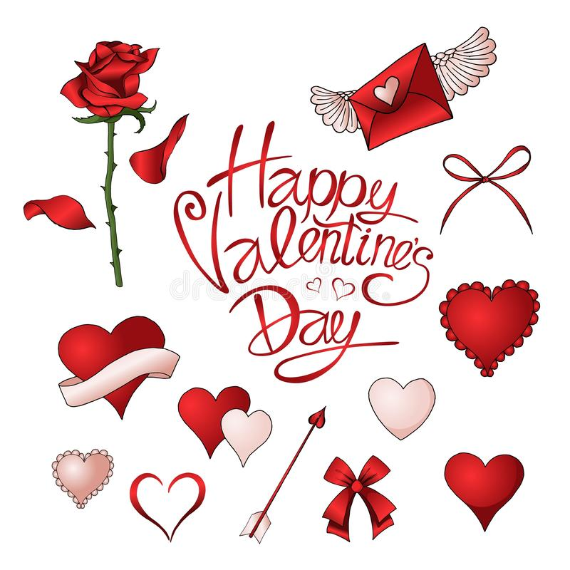 Красные розы, сердца и другие элементы вручают вычерченный покрашенный набор бесплатная иллюстрация