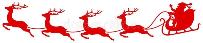 Красные сани Санта рождества и 4 северного оленя летая изогнутого бесплатная иллюстрация