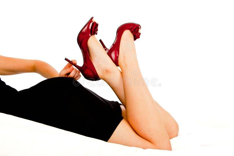 красные сексуальные ботинки стоковые фотографии rf