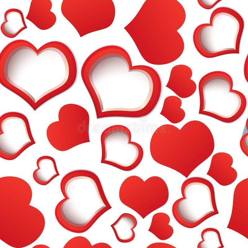 Красные сердца безшовные иллюстрация вектора