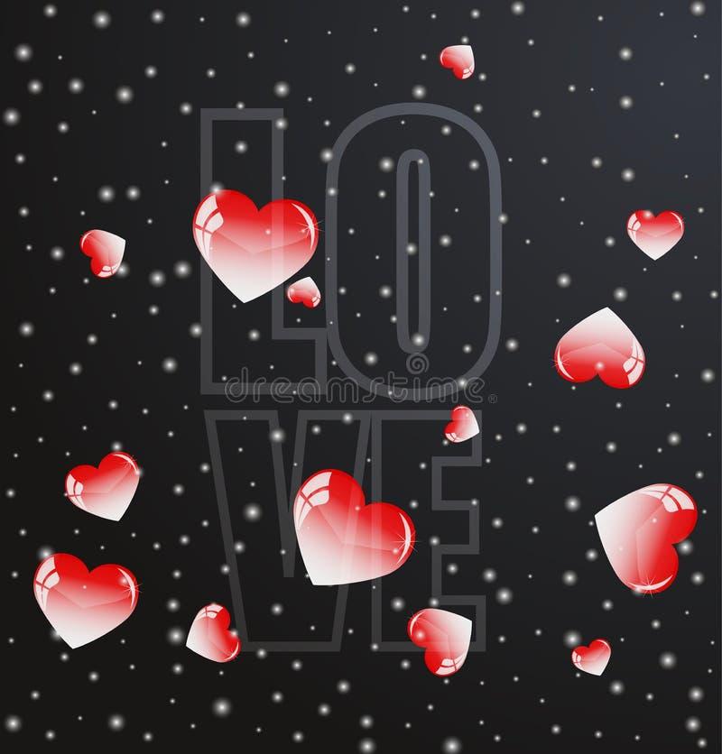 красные сердца валентинки летая с надписью влюбленности бесплатная иллюстрация