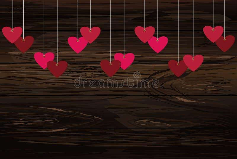 Красные сердца вися на ленте Валентайн дня s Illustr вектора иллюстрация вектора
