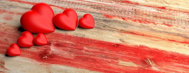 Красные сердца на деревянной предпосылке иллюстрация 3d иллюстрация вектора