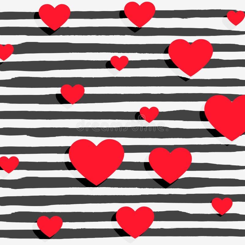 красные сердца на черноте stripes предпосылка иллюстрация вектора