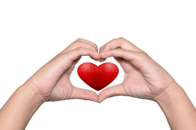 Красные сердца в символе форменн-руки сердца стоковая фотография