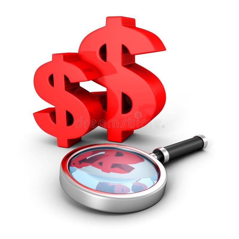 Красные символы валюты доллара с стеклом увеличителя иллюстрация вектора