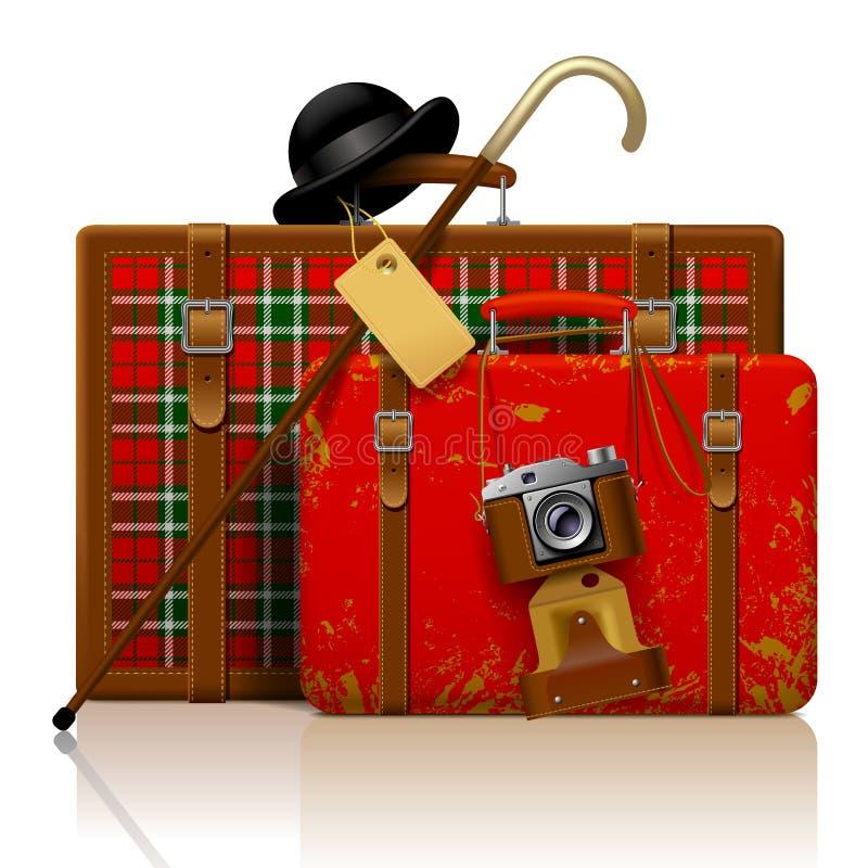 Красные старые чемоданы с идя ручкой, котелком и ретро фото бесплатная иллюстрация