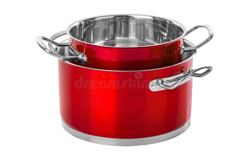 Красные стальные лотки стоковое фото rf