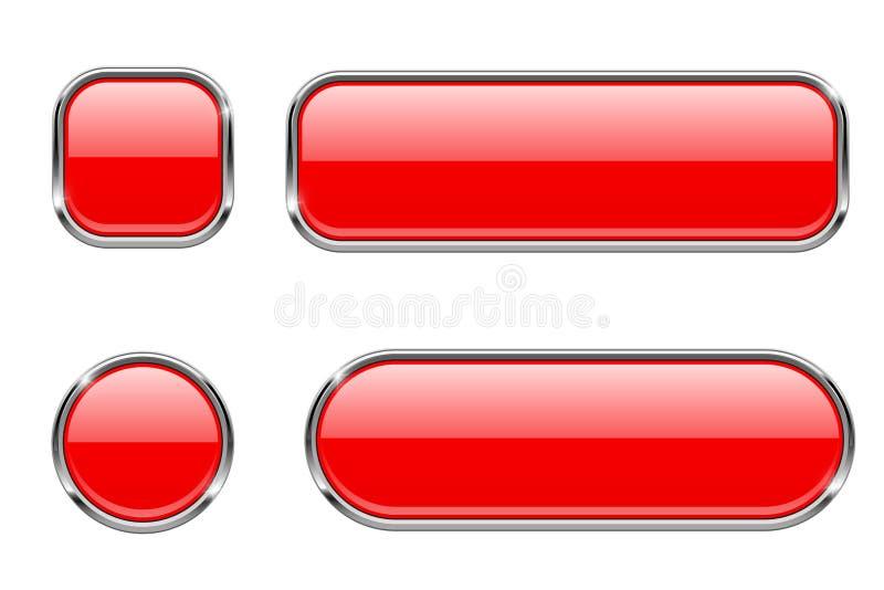Красные стеклянные кнопки с рамкой хрома Комплект пустых сияющих значков сети 3d иллюстрация штока