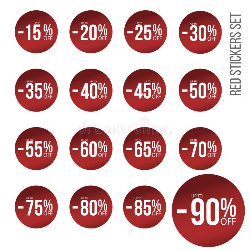 Красные стикеры скидки установили с номерами процентов продажи От 10 до восемьдесят пять бесплатная иллюстрация