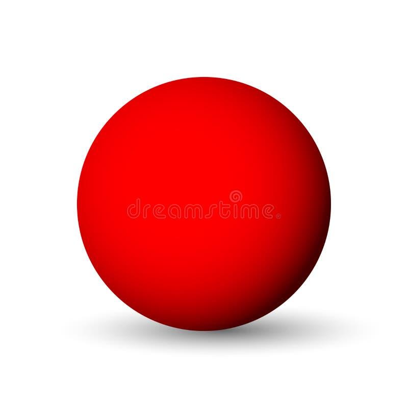 Красные сфера, шарик или шар объект вектора 3D с упаденной тенью на белой предпосылке иллюстрация вектора
