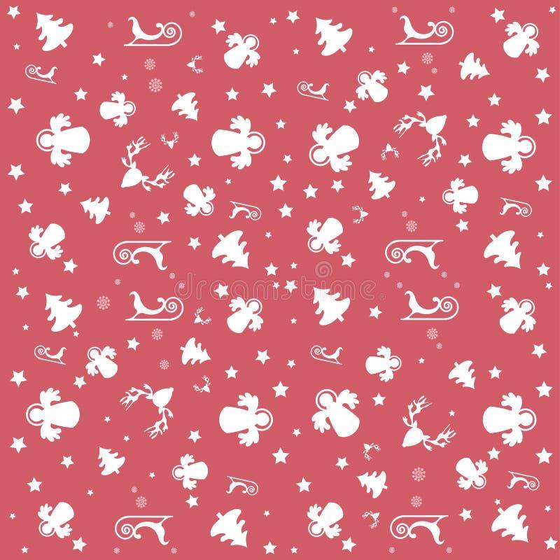 Красные с Рождеством Христовым обои с ангелами, звездами и картиной рождества: белые деревья, ангелы, сани и звезды бесплатная иллюстрация