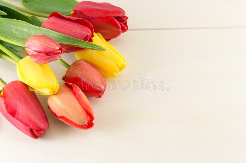 Красные тюльпаны на деревянном столе стоковые изображения rf
