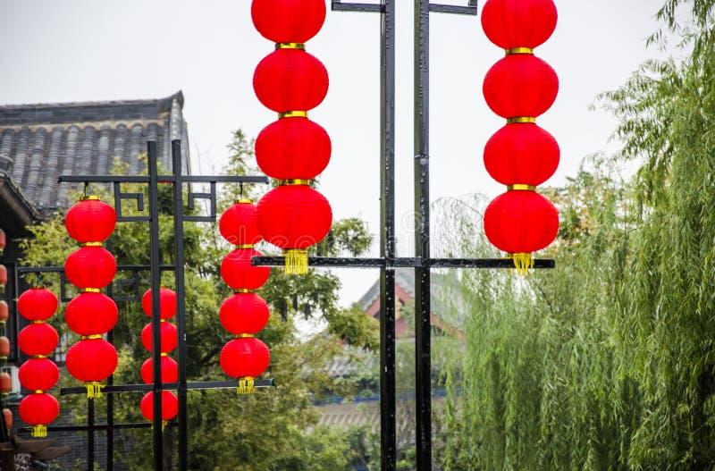 Красные фонарики для фестиваля весны стоковая фотография rf