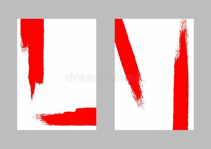 Красные ходы щетки на белой бумаге Установите вертикальных шаблонов grunge Акварель, краска, brushstroke бесплатная иллюстрация