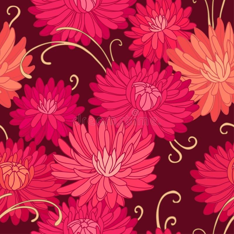 Красные хризантемы иллюстрация вектора
