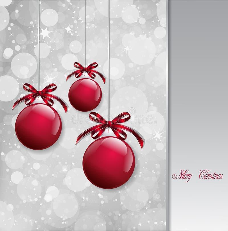 Красные шарики рождества на сияющей карточке вектор бесплатная иллюстрация