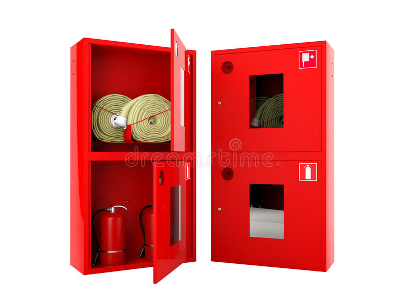 Красные шкафы пожарного рукава и огнетушителя на белой предпосылке стоковое фото rf