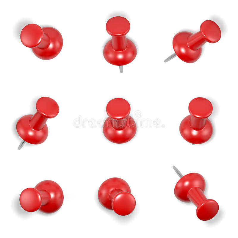 Красные штыри нажима иллюстрация вектора