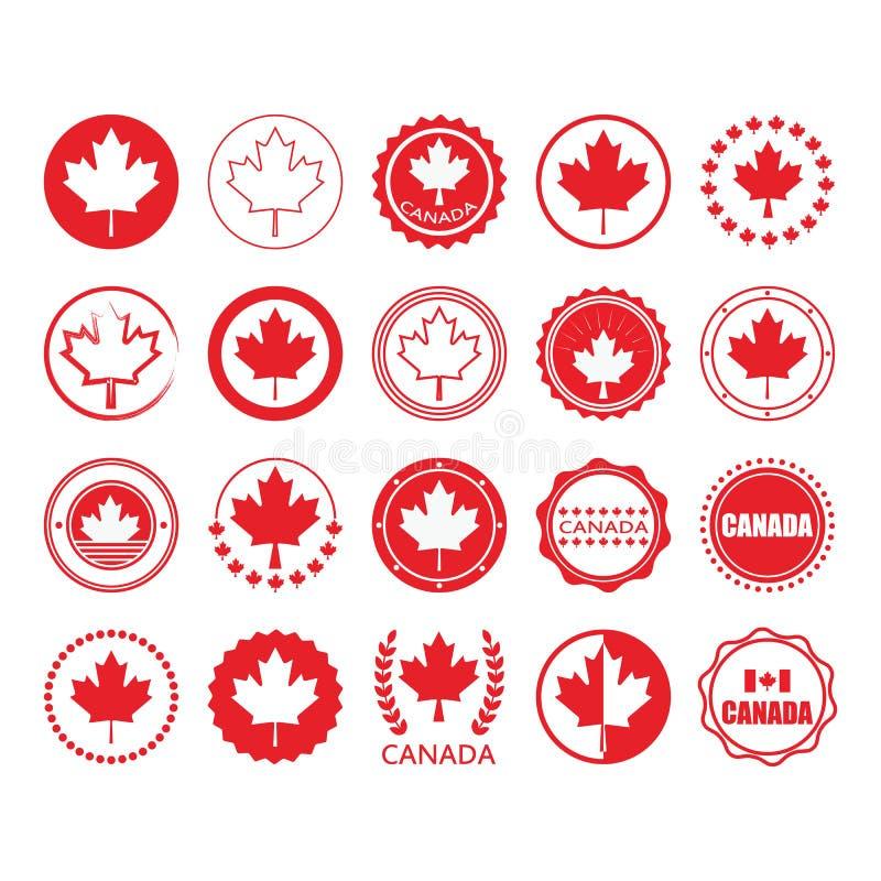 Красные эмблемы и печати круга знака флага и кленового листа Канады установили на белизну бесплатная иллюстрация