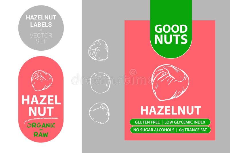 Красные этикетки фундука с текстом: клейковина свободная, низкий гликемический индекс, отсутствие алкоголей сахара, сала транса 0 иллюстрация вектора