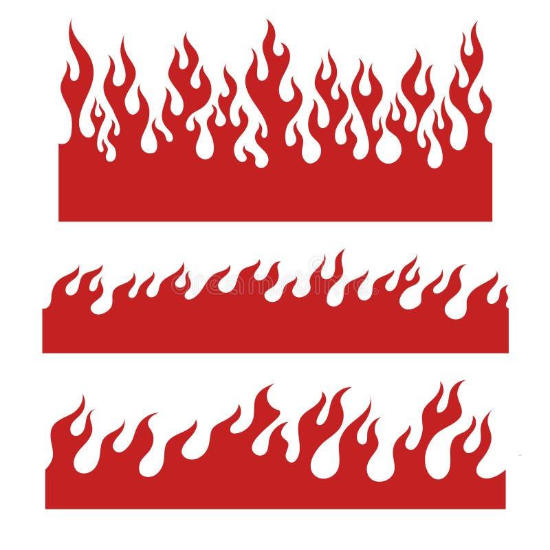 Красные элементы пламени для бесконечной границы бесплатная иллюстрация