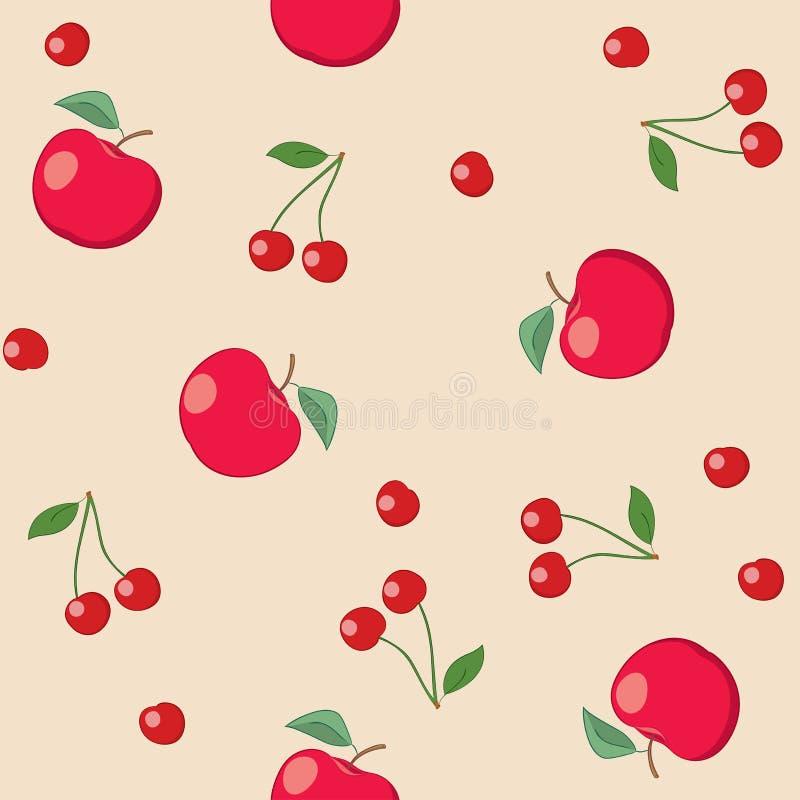 Красные яблоки и вишни на бежевой предпосылке - безшовной картине вектора иллюстрация вектора